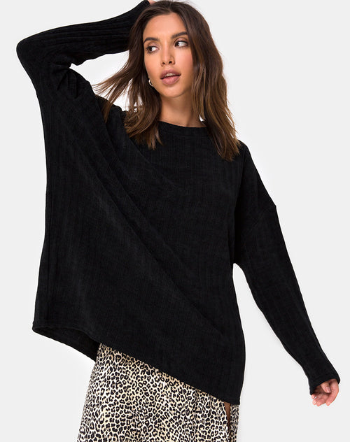 Dad Jumper in Chenille Black by Motel