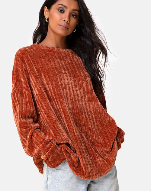Dad Jumper in Chenille Rust by Motel