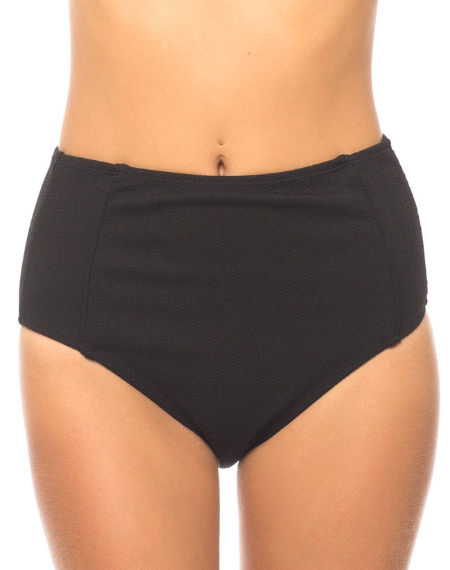 Daisy High Waisted Bikini Bottom in Black by Motel
