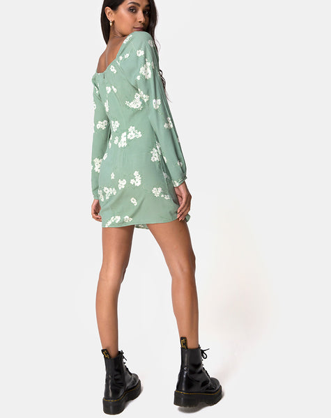 Danila Dress in Mono Flower Green by Motel