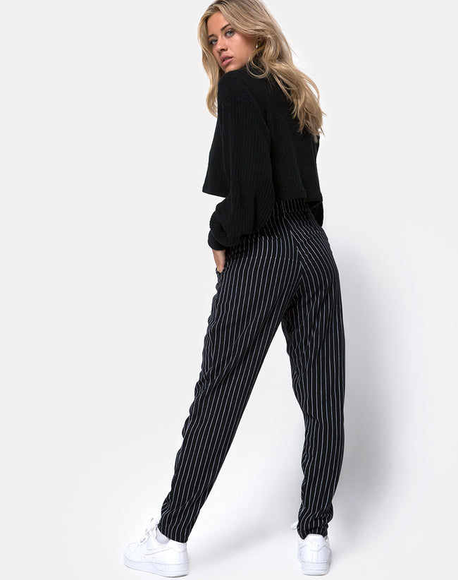 Dastan Trouser in Pinstripe Black By Motel