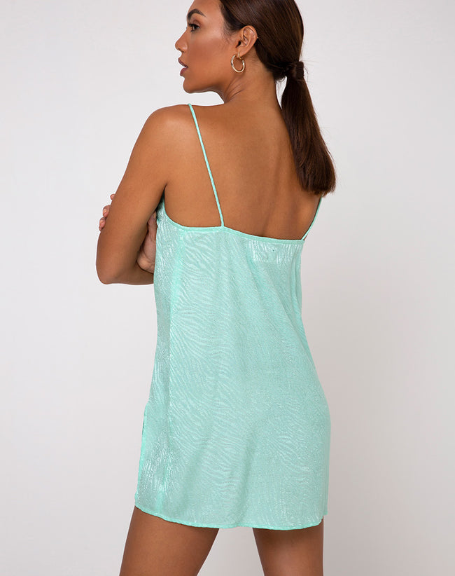 Datista Slip Dress in Zebra Aquamarine by Motel