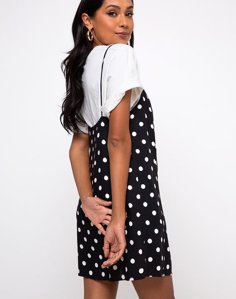 Datista Slip Dress in 80's Polka Black by Motel