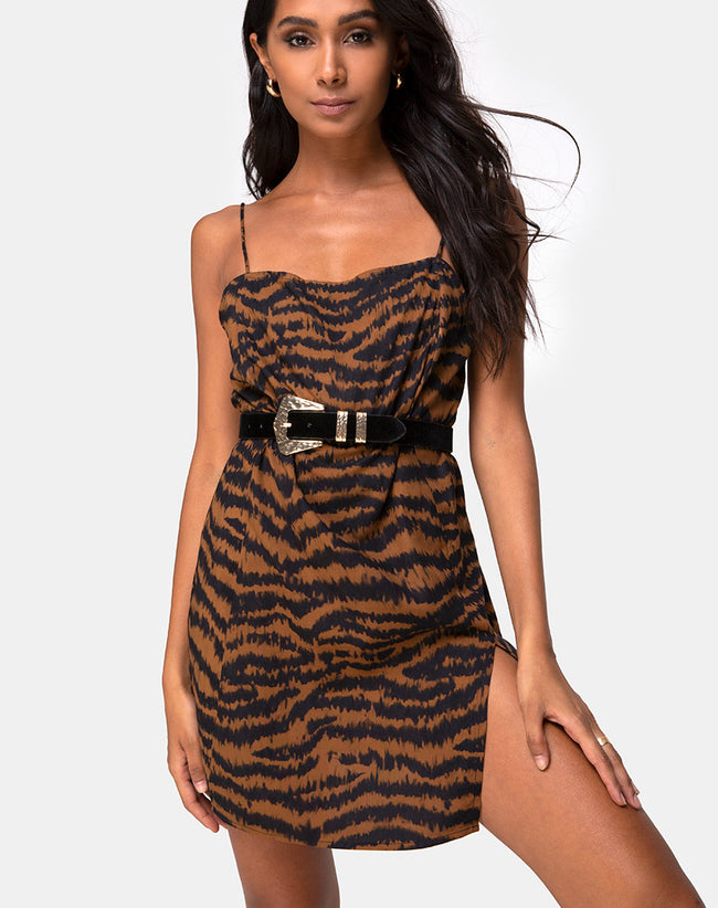 Datista Slip Dress in Animal Drip Brown by Motel