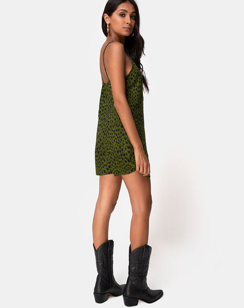 Datista Slip Dress in Cheetah Khaki by Motel