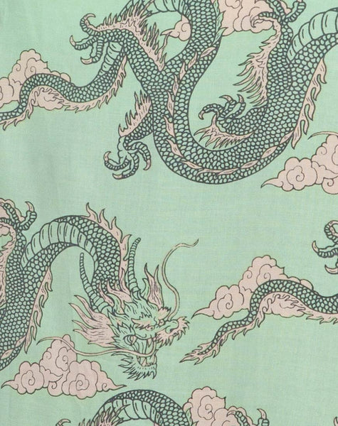 Datista Slip Dress in Chinese Dragon Neo Mint