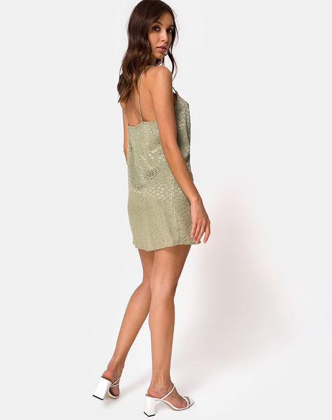 Datista Slip Dress in Satin Ditsy Rose Sage by Motel