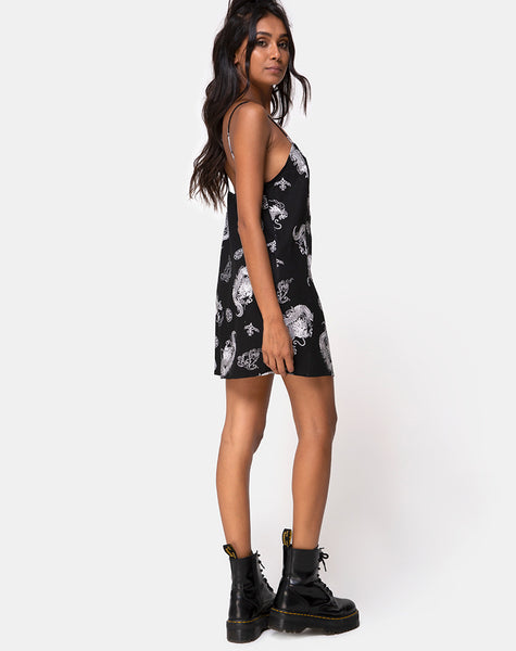 Datista Slip Dress in Black Dragon by Motel