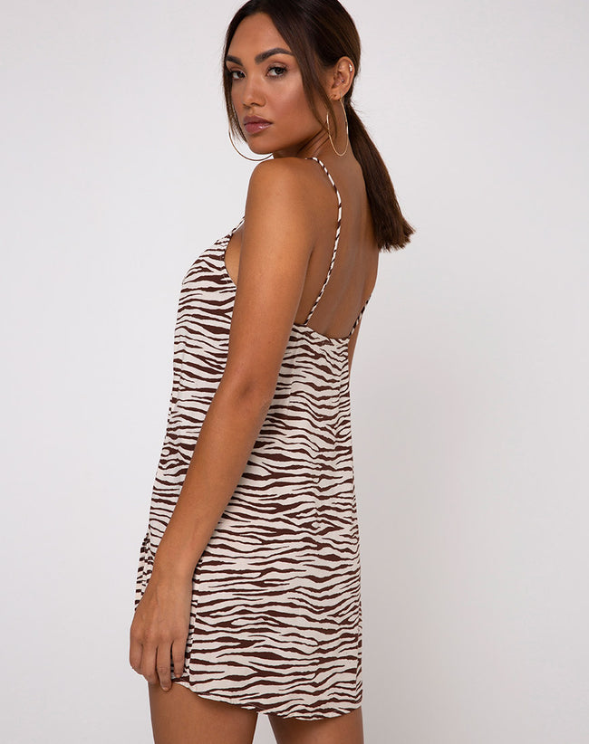 Datista Slip Dress in Easy Tiger Cocoa by Motel