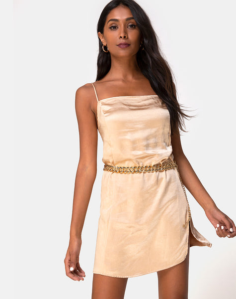 Datista Dress in Satin Gold by Motel