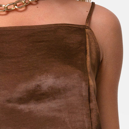 Datista Slip Dress in Satin Brown by Motel