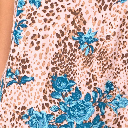 Datista Mini Dress in Jungle Flower Blue and Cream