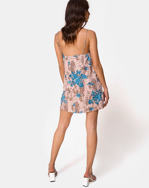 Datista Mini Dress in Jungle Flower Blue and Cream by Motel