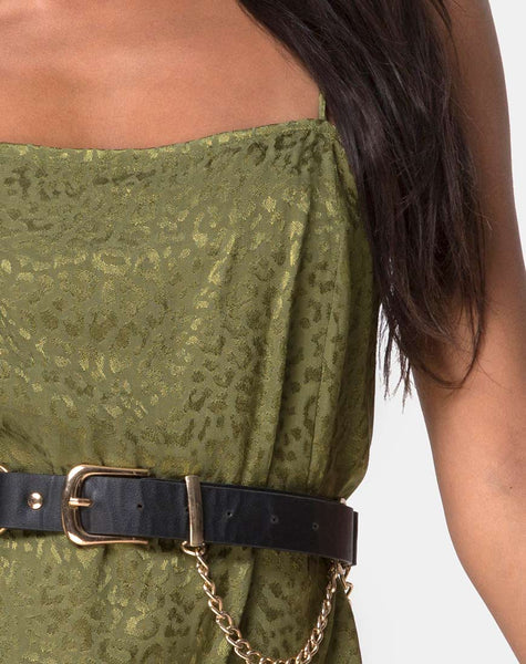 Datista Slip Dress in Satin Cheetah Khaki by Motel
