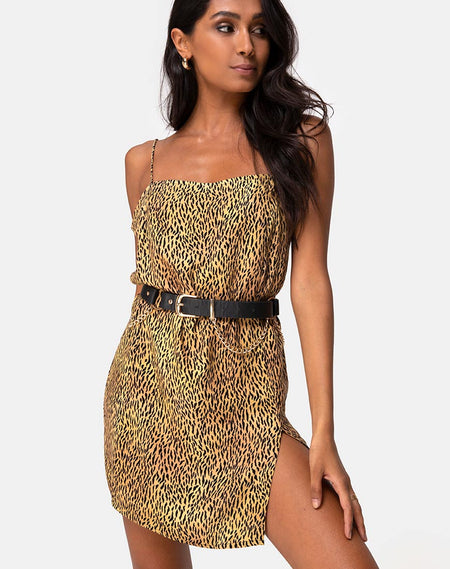 Furiosa Wrap Dress in Gold Satin Cheetah by Motel