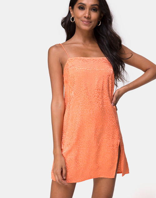 Datista Slip Dress in Satin Cheetah Coral by Motel