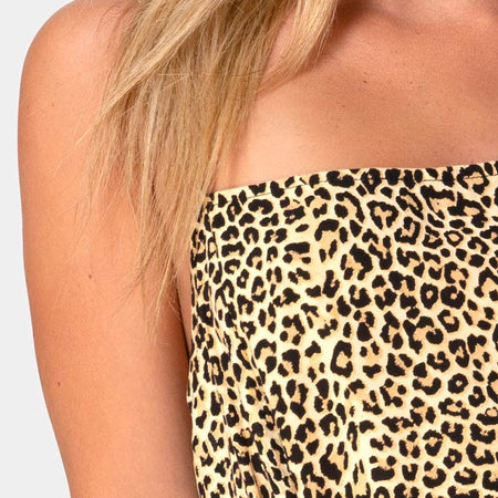 Datista Slip Dress in Rar Leopard Brown