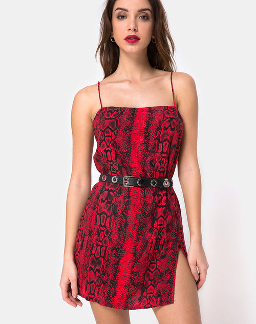 Datista Dress in Red Snake By Motel