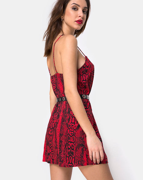 Datista Slip Dress in Red Snake By Motel