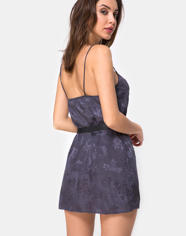 Datista Slip Dress in Satin Rose Grey by Motel