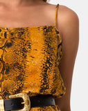 Datista Slip Dress in Snake Mustard