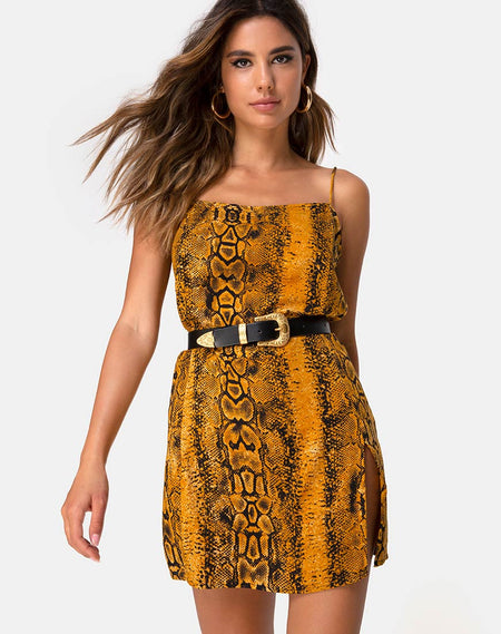Lotsun Jumper Dress in Snake Mustard by Motel