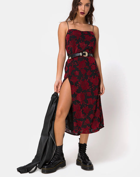 Daxita Dress in Romantic Red Rose Flock