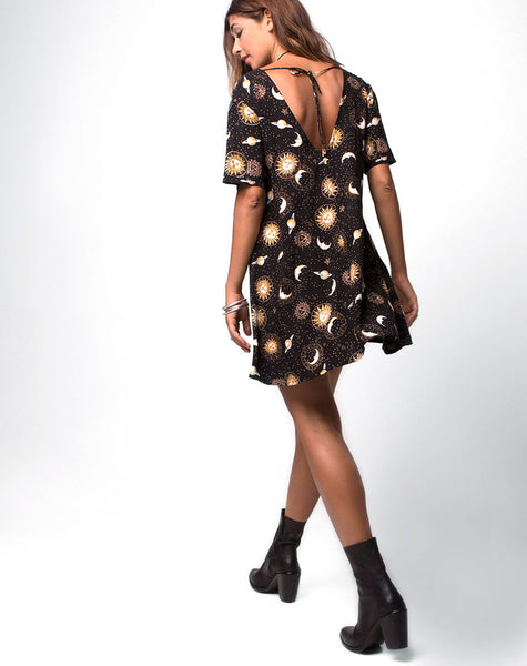 Crosena Swing Dress in Solar System Black by Motel