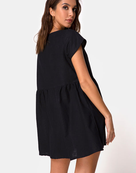 Deira Babydoll Dress in Black by Motel
