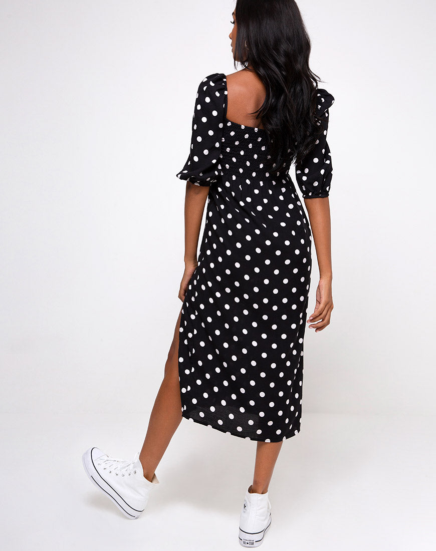Deloya Midi Dress in 80's Polka Black by Motel
