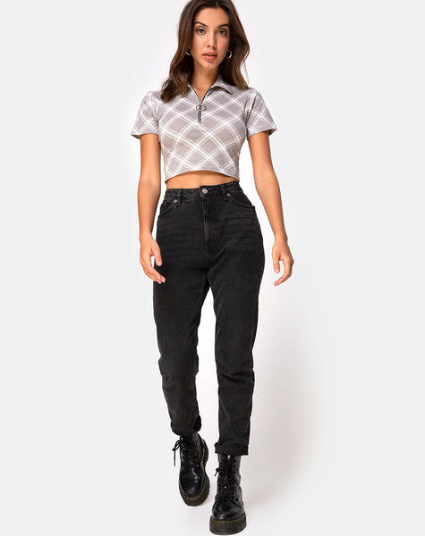Dhen Crop Top in Grunge Check Taupe by Motel