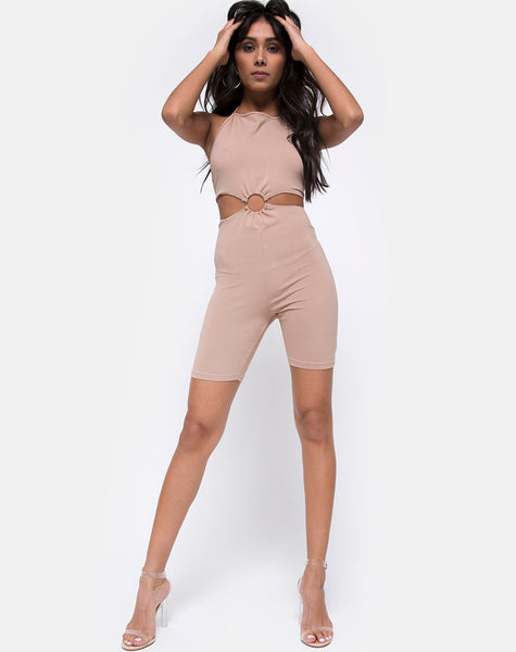 Dequa Cutout Unitard in Jersey Tan
