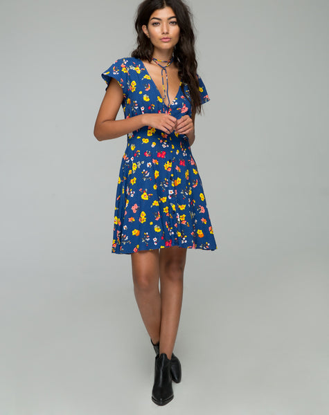 Devereux Babydoll Dress in Fleur Navy by Motel