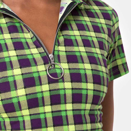 Dhen Crop Top in Green and Purple Check by Motel