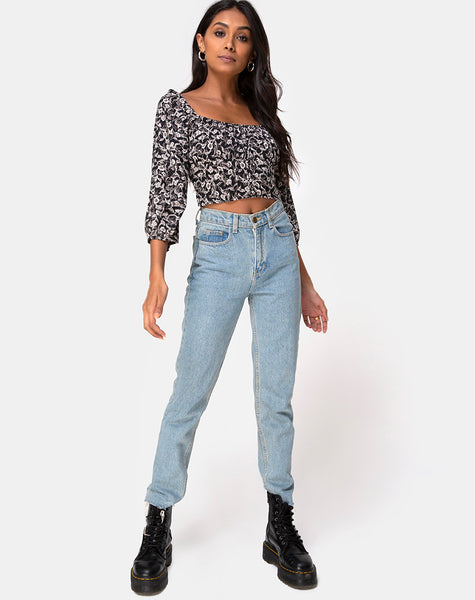 Dimen Crop Top In Wild Tulip Black by Motel