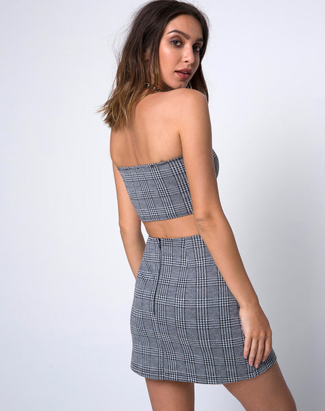 Dina Mini Skirt in Charles Check Grey by Motel