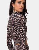 Lara Crop Top in Velvet Brown Leopard by Motel