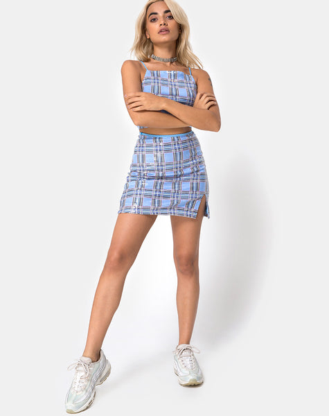 Dina Mini Skirt in 90's Check with Clear Sequin by Motel
