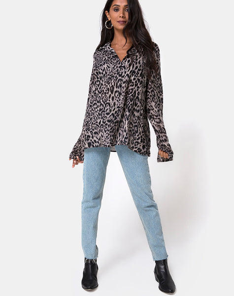 Disam Shirt in Leopard Grey by Motel