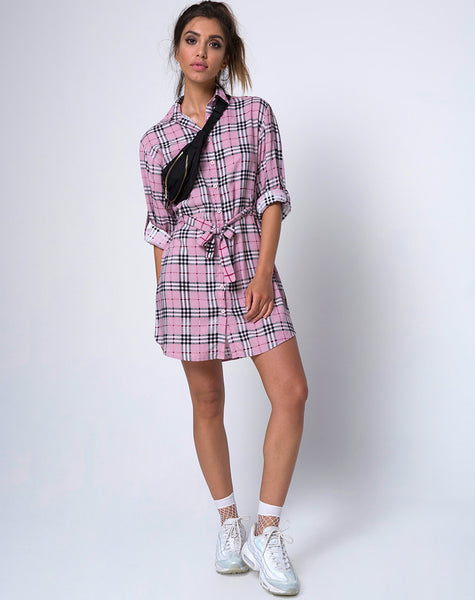 Dise Shirt Dress in Pink Check by Motel