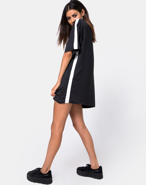 Dore T-Shirt Dress in Black with Ivory Stripe by Motel
