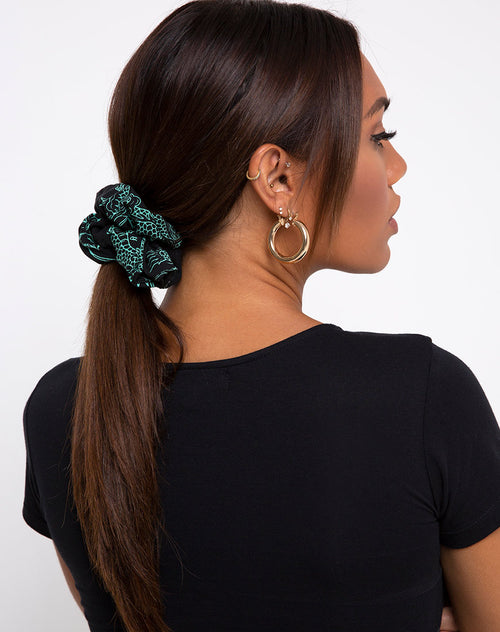 Scrunchie in Dragon Flower Black and Mint by Motel