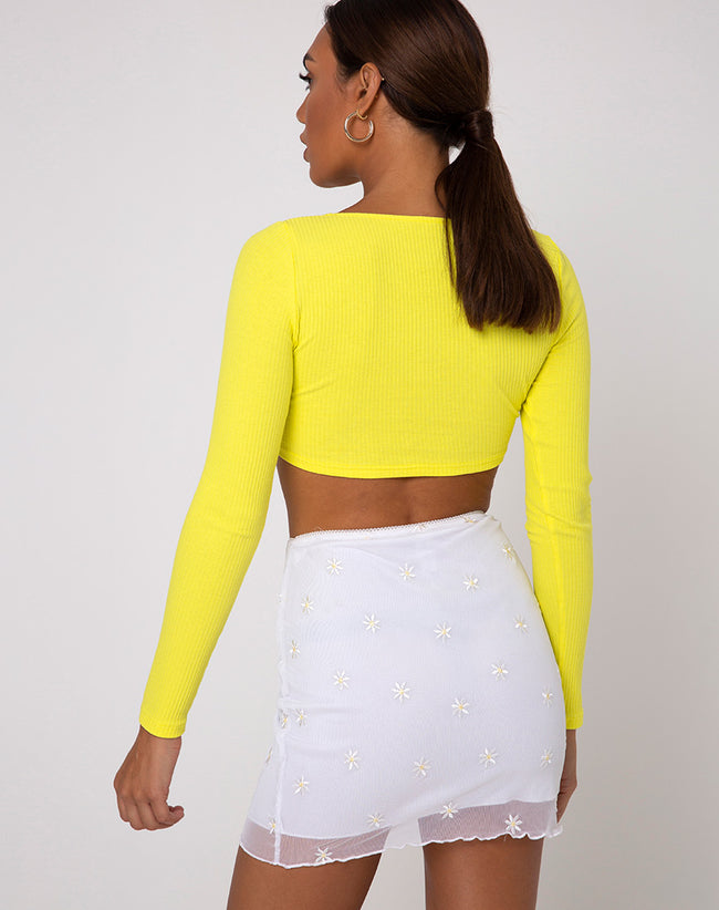 Drea Crop Top in Rib Sunny Yellow