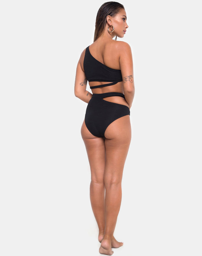 Dreama Bikini Bottom in Textured Black by Motel