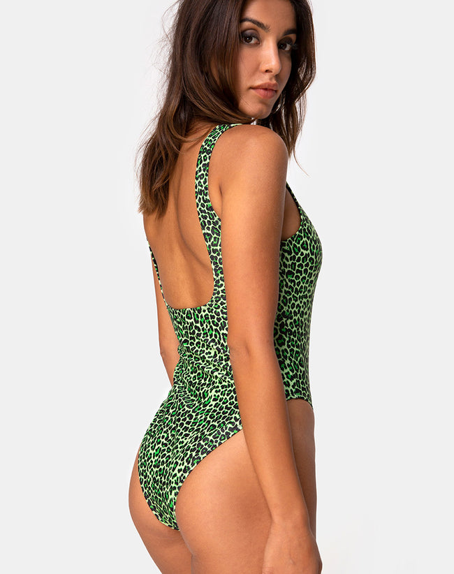 Drela Swimsuit in Rar Leopard Lime by Motel