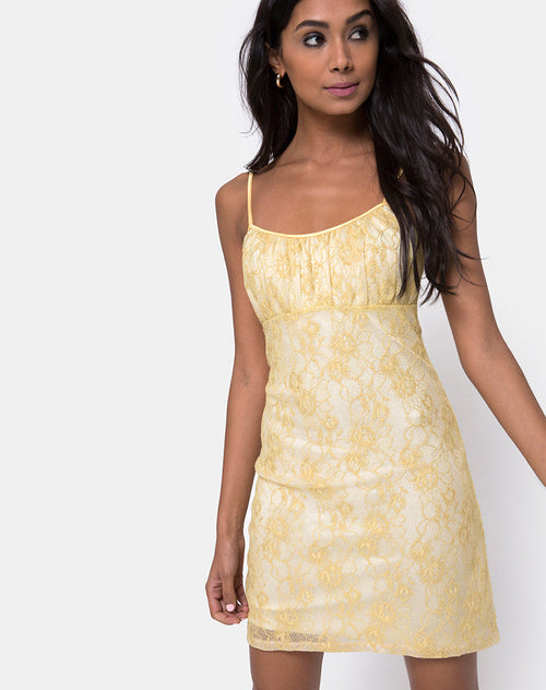 Kula Dress in Pastel Lace Lemon by Motel