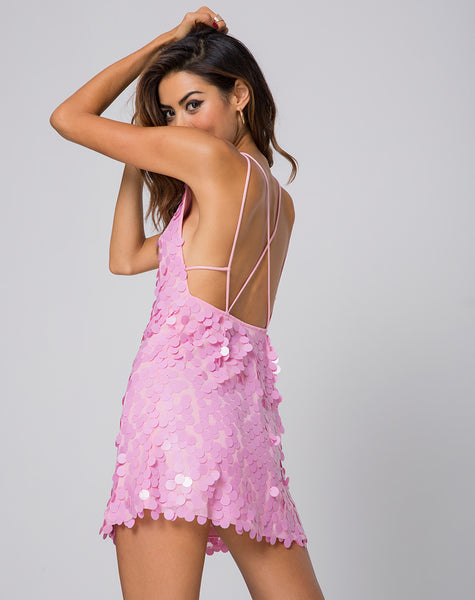 Gigi Dress in Candy Pink Disc Sequin by Motel