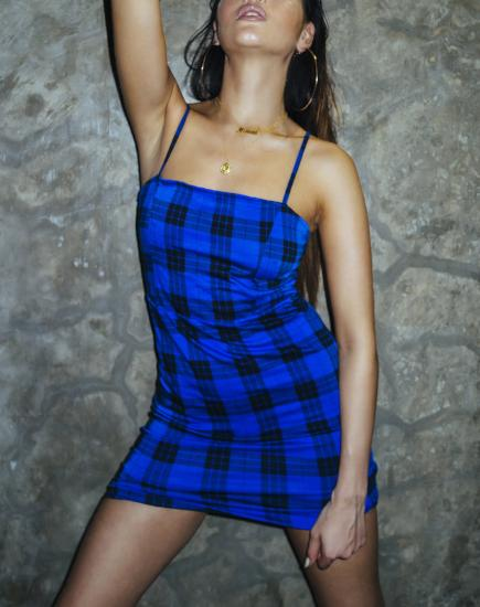 Boco Mini Dress in Tartan Blue By Motel