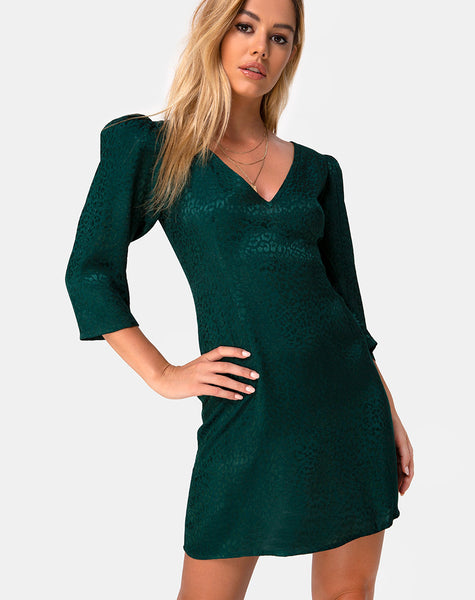 Dumia Mini Dress in Satin Cheetah Forest Green