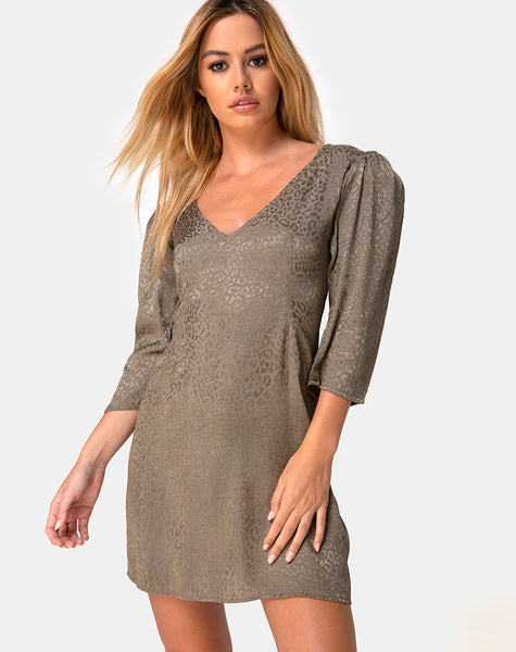 Dumia Mini Dress in Satin Cheetah Silver Grey by Motel